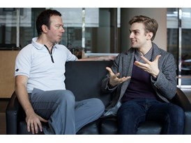 Mentor Alexei Ratmansky (left) and protégé Myles Thatcher at the Chris Hellman Center for Dance, home to the San Francis