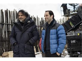 "Mentor Alejandro González Inárritu and Protege Tom Shoval, during the shooting of the film ""The Revenant"", in Alberta, C"