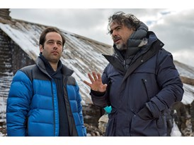 "Mentor Alejandro González Inárritu and protégé Tom Shoval during the filming of ""The Revenant"" in Alberta, Canada."