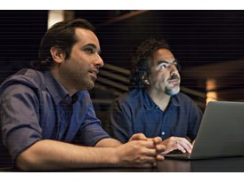 Protégé Tom Shoval (left) and mentor Alejandro González Iñárritu in the sound mixing studio of the Alfred Hitchcock Thea
