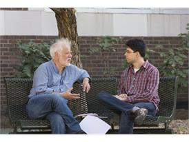 On the campus of the University of North Texas (where Penkov teaches), mentor Michael Ondaatje (left) and protégé Mirosl