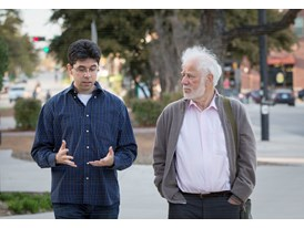 Protégé Miroslav Penkov (left) and mentor Michael Ondaatje on the campus of the University of North Texas (in Denton, Te