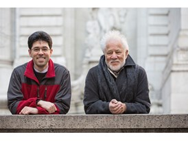 Protégé Miroslav Penkov (left) and mentor Michael Ondaatje at the New York Public Library (Stephen A. Schwarzman Buildin