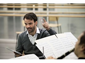 "Protégé Vasco Mendonça with musicians in Helsinki rehearsing his composition, ""Adultery"", based on a poem by Carol Ann D"