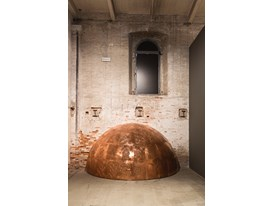 "Protégé Sammy Baloji's work ""The Other Memorial, 2015"", a dome that was inspired by a church in Belgium made for exhibit"