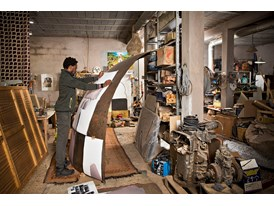 At the Cooperative Moussaouia, an artists' workshop in Marrakesh, protégé Sammy Baloji prepares the dome that he will ex