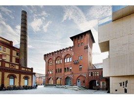 The multi-storey building (centre) in Berlin that houses mentor Olafur Eliasson's studio.