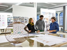 Mentor Olafur Eliasson (right), protégé Sammy Baloji and architect Lisa Tiedje in Eliasson's studio in Berlin.