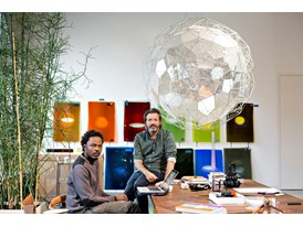 Mentor Olafur Eliasson (right) and protégé Sammy Baloji in Eliasson's studio in Berlin.