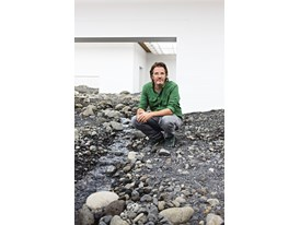 "At the Louisiana Museum of Modern Art in Copenhagen, Denmark, Olafur Eliasson surveys his installation, ""Riverbed""."