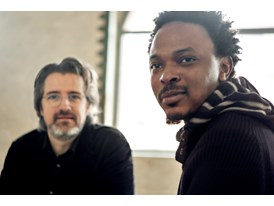 Mentor Olafur Eliasson (left) and protégé Sammy Baloji in Eliasson's studio in Berlin.