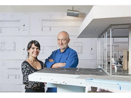 Protégée Gloria Cabral and mentor Peter Zumthor in his studio in Haldenstein.