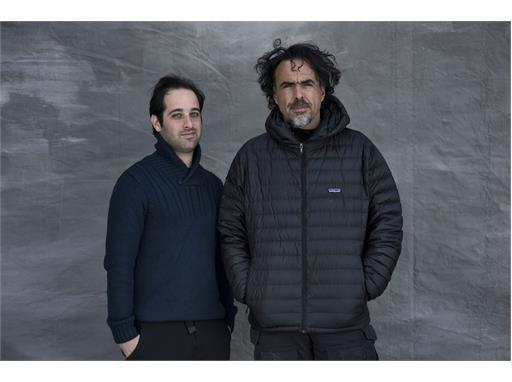 Mentor Alejandro González Iñárritu (right) and protégé Tom Shoval on the set in Alberta, Canada, of the mentor's new fil