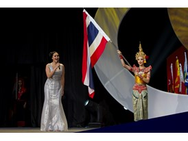 Pop superstar and Rotary Polio Ambassador Tata Young sings the National Anthem of Thailand