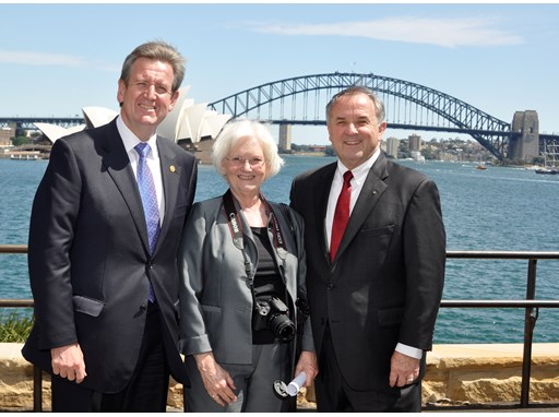 Rotary International President Ron Burton and his wife Jetta are joined by New South Wales Premier Barry O'Farrell to an