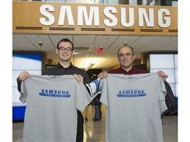 A proud Samsung employee and his father start their Bring In Your Parents Day with matching T-shirts