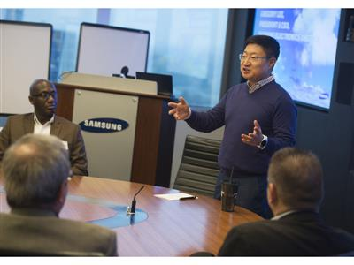 President and CEO of Samsung Electronics North America Gregory Lee welcome the parents of Samsung employees