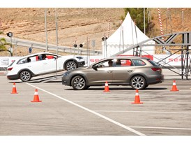 SEAT employees test driving the new Leon X-PERIENCE at the on and off-track circuit