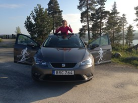 Emelie Forsberg driving her car, a SEAT Leon X-PERIENCE, to explore the mountains farther away from her home