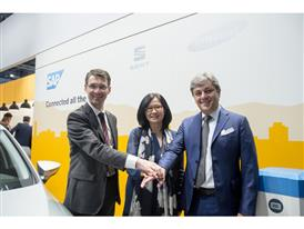 SAP SE Executive Committee member, Products and Innovation Bernd Leukert; Samsung Senior Vice-president Global Head of M