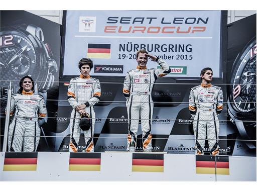 Andrina Gugger, Mauricio Hernandez, Stian Paulsen and Mikel Azcona on the podium at the Nürburgring (race 9)