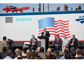 May 2013 Amtrak Cities Sprinter Unveil at Siemens Sacramento Rail Manufacturing Facility - Cahill during the ceremony