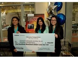 Priyanka Wadgaonkar, Zainab Mahmood, and JaiWen Pei, $100,000 Scholarship, Team Winners