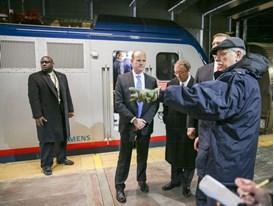 February 2014 - Amtrak President Joseph Boardman speaks as Michael Cahill of Siemens looks on at ACS-64 Cities Sprinter