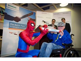 Spider-Man with kids at NY Presbyterian Hos. at the kickoff of The Baton Pass, a new cancer research campaign 3/19/14