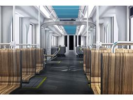 Interiors: Transverse -- One of 2 Siemens-proposed interiors currently under consideration by the SFMTA 9/19/14