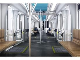 Interiors: Longitudinal -- One of 2 Siemens-proposed interiors currently under consideration by the SFMTA 9/19/14