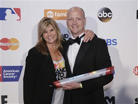 Siemens Healthcare CEO Dr. Gregory Sorenson and EIF CEO Lisa Paulsen on the red carpet at the SU2C telethon 9/5/14