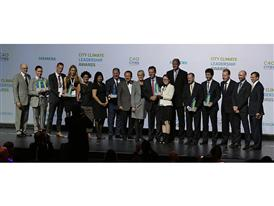 Winners pose at the City Climate Leadership Awards, presented by C40 and Siemens 9/22/14