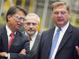 North Carolina governor Pat McCrory, Bill Boswell and Eric Spiegel talk during a plant tour 9/24/14