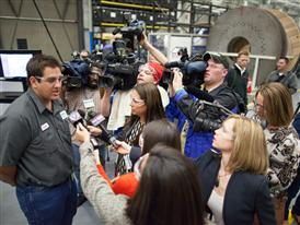 David Whalen, Central Piedmont Community College student and Siemens apprentice answers media questions 9/24/14