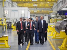 Mark Pringle, North Carolina governor Pat McCrory and Eric Spiegel tour the Siemens plant 9/24/14