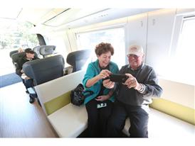 Visitors tour a Siemens High Speed Rail Mock-up at CA State Capitol 2/25/14