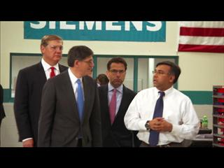 In First Trip Since Taking Office, Treasury Secretary Jacob J. Lew Visits Siemens Manufacturing Plant