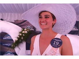 Samantha Teel, Longines Most Elegant Woman at Belmont Fashion Contest Winner