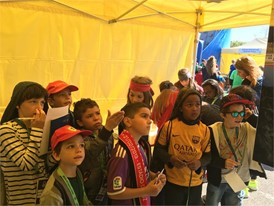 Young fans in the UEFA Foundation for children stand