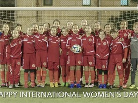 Under-13 girls' academy players in Malta saying 'Happy International Women's Day!' -  Video 1