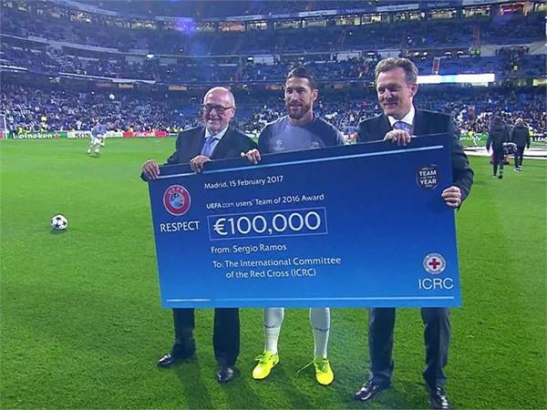 UEFA ICRC Cheque Handover