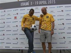 Brazilian Football and Sailing Legends, Cafu and Torben Grael, attend the Itajai-Port Race
