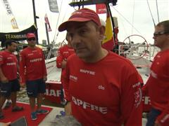 Leg 6 start dock Interviews with Xabi Fernandez (ESP)