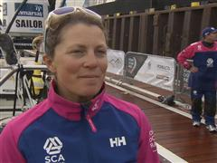 The Hague Pit Stop arrival Interviews - Samantha Davies (GBR)