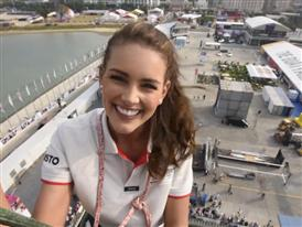 Miss World, Rolene Strauss, climbs 100ft (30.3 metres) racing boat mast
