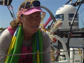 Leg 5 finish Interviews with Carolijn Brouwer (NED)