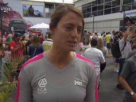 Leg 6 start dock Interview with Justine Mettraux (SUI)