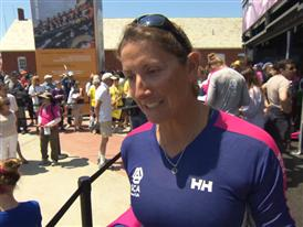 Leg 7 start dock Interview with Dee Caffari (GBR)