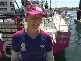 Leg 7 start dock Interviews with Samantha Davies (GBR)